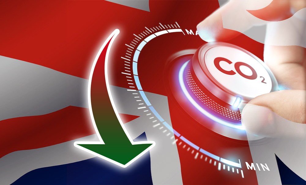Carbon Dioxide emissions in the UK continue to fall.